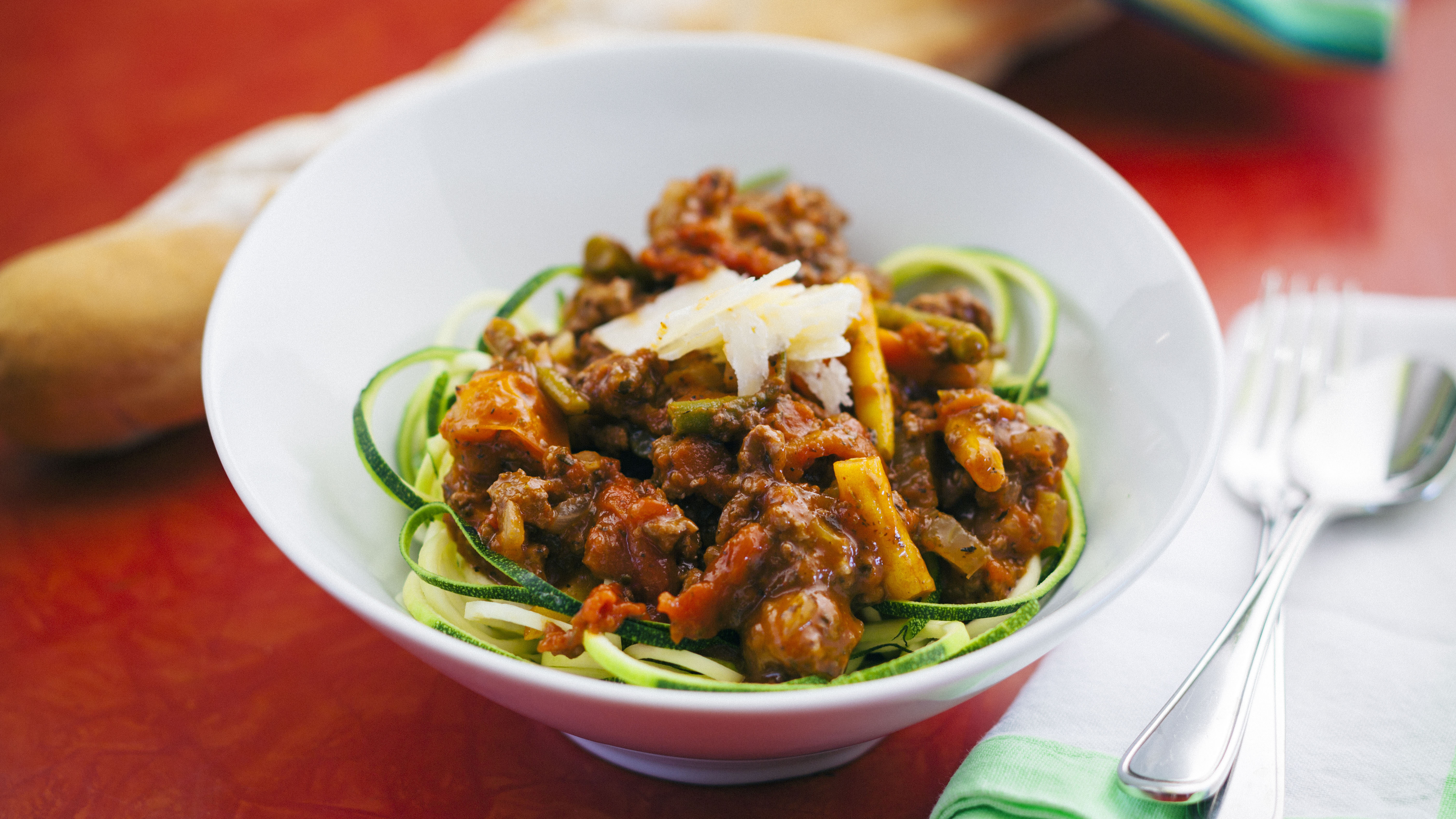 Country Magic Vegetable Turkey Bolognaise over Zucchini Spirals by The Kilted Chef