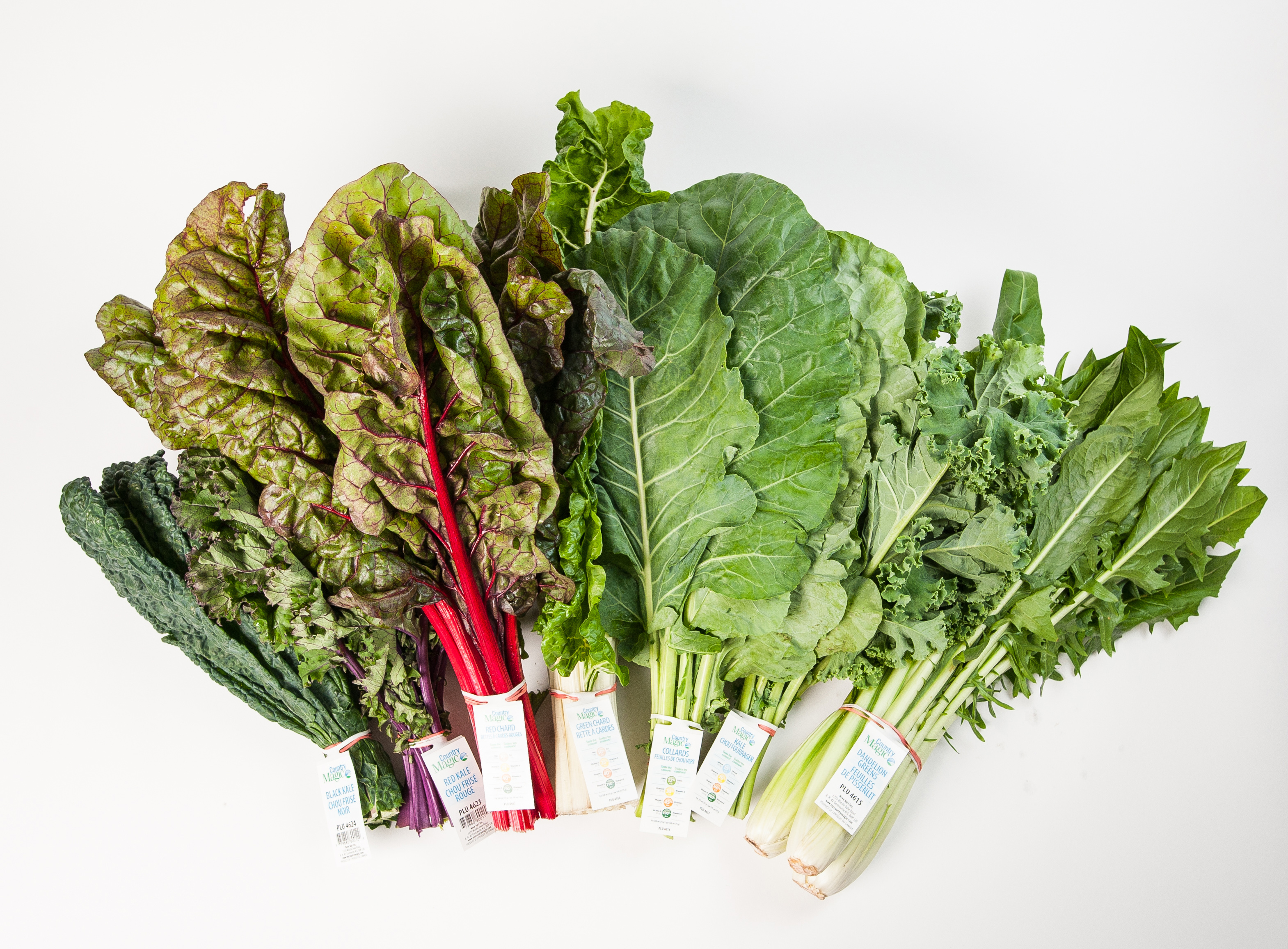 Country Magic greens, black kale, red chard, green kales collard greens, dandelion greens